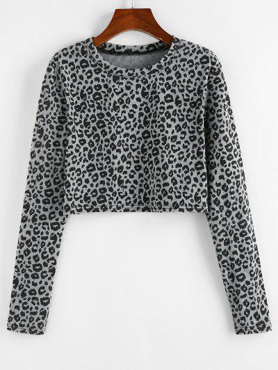 ZAFUL Leopard Print Cropped Tee - Light Gray Xl