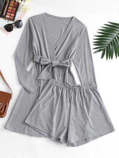 Ribbed Bowknot Belted Cardigan Shorts Pajama Set - Dark Gray Xl