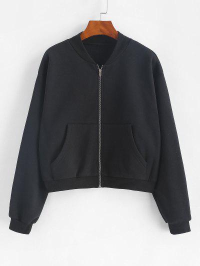 ZAFUL Front Pocket Zip Up Fleece Jacket - Black S