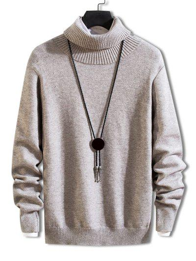 Turtleneck Solid Pullover Knit Sweater - Gray Cloud M