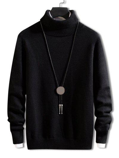 Turtleneck Solid Pullover Knit Sweater - Black M