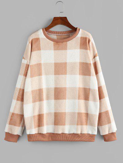 ZAFUL Fleece Plaid Drop Shoulder Oversized Sweatshirt - Light Orange M