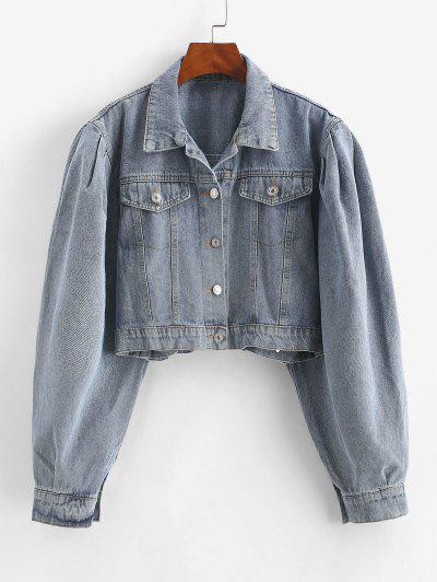 Flap Detail Button Up Jean Jacket - Blue S