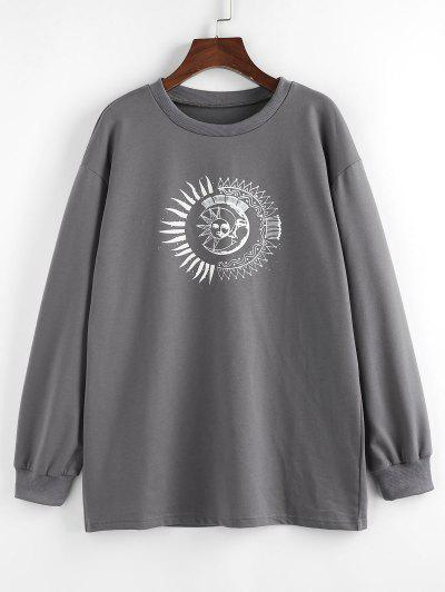 ZAFUL Sun Moon Print Drop Shoulder Loose Sweatshirt - Gray M