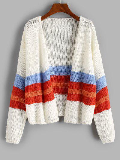 Drop Shoulder Colorblock Open Front Cardigan - White