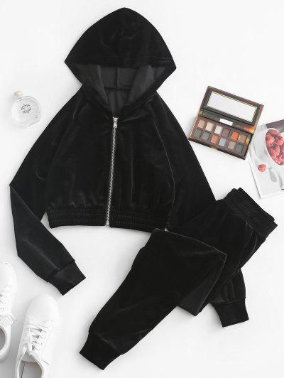 Zip Up Velvet Pocket Two Piece Pants Set - Black L