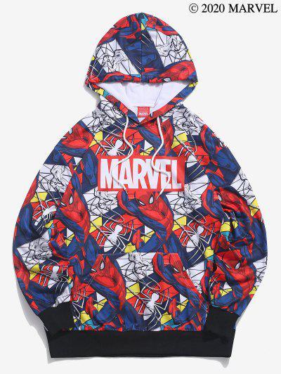 Marvel Spider-Man Allover Figure Print Hoodie - Denim Dark Blue S