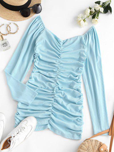 Geripptes Bodycon Langarm Kleid Mit Rüschen - Hellblau M