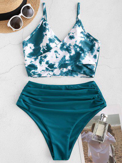 ZAFUL Tie Dye Cirss Cross Tankini Swimwear - Deep Green 2xl