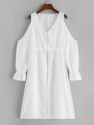 Cold Shoulder Plunge Tie See Thru Cover-up Dress - White L