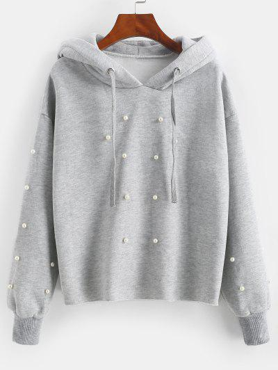 Faux Pearl Fleece Lined Raw Cut Pullover Hoodie - Light Gray M