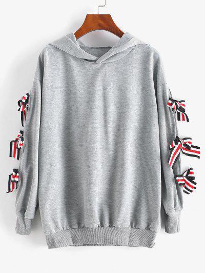 Striped Bowtie Drop Shoulder Hoodie - Light Gray S