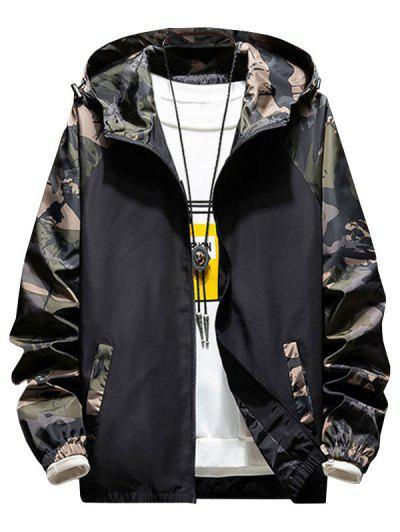 Hooded Raglan Sleeve Camouflage Print Jacket - Army Green 3xl