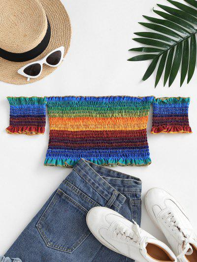 Smocked Rainbow Ruffle Off Shoulder Blouse - Multi L