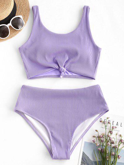 ZAFUL Knot Textured Ribbed Tankini Swimsuit - Light Purple S