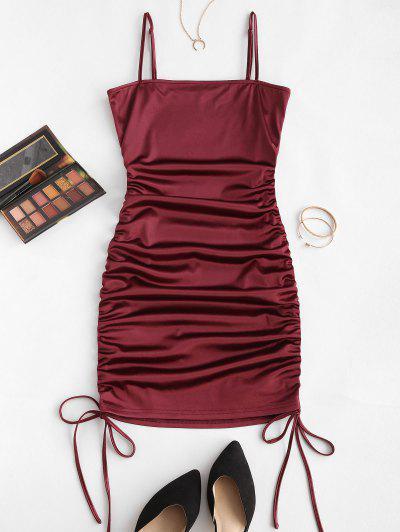 ZAFUL Spaghetti Strap Cinched Satin Bodycon Dress - Red Wine L