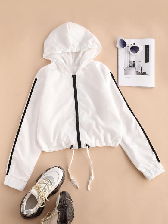 women Hooded Side Striped Mesh Lining Windbreaker Jacket - WHITE M