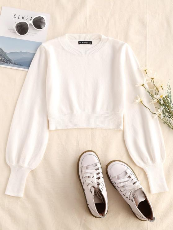 Crew Neck Lantern Sleeve Crop Sweater - أبيض M