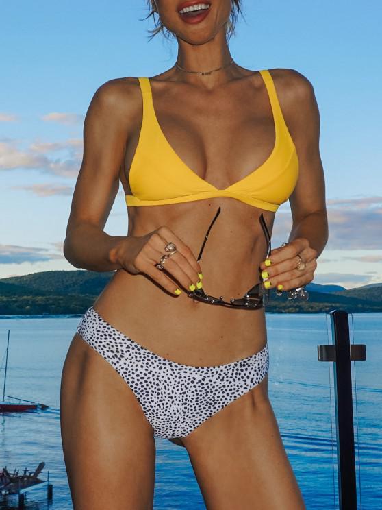 fancy Leopard High Cut Bikini Set - YELLOW M