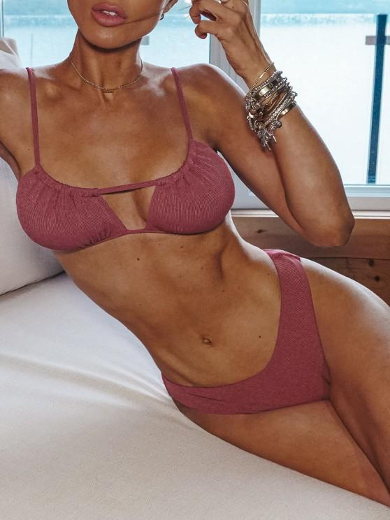 ZAFUL Ribbed High Cut Ruched Tie Bikini Swimwear - وردي فاتح M