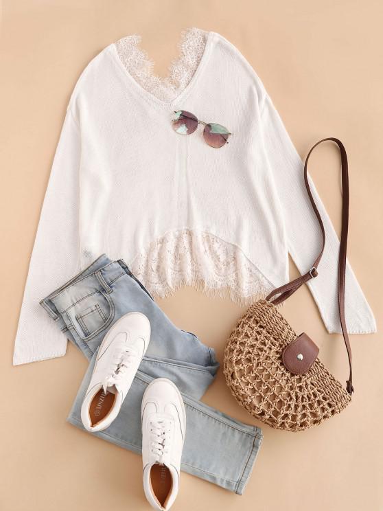 Lace Eyelash Sheer Drop Shoulder Sweater - أبيض حجم واحد