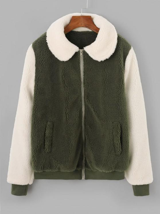 fashion Two Tone Bicolor Zipper Pocket Teddy Coat - LIGHT GREEN M