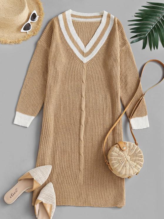 Vestido de Camisola Frouxa com Corte Lateral - Café Light S