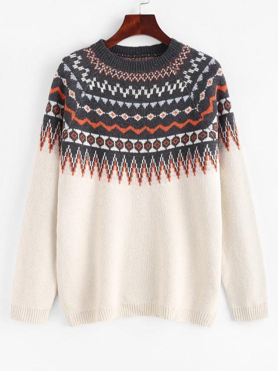 Raglan Sleeve Fair Isle Knit Sweater - أبيض L