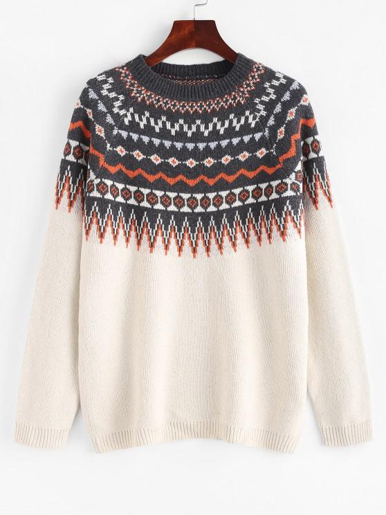 online Raglan Sleeve Fair Isle Knit Sweater - WHITE XL