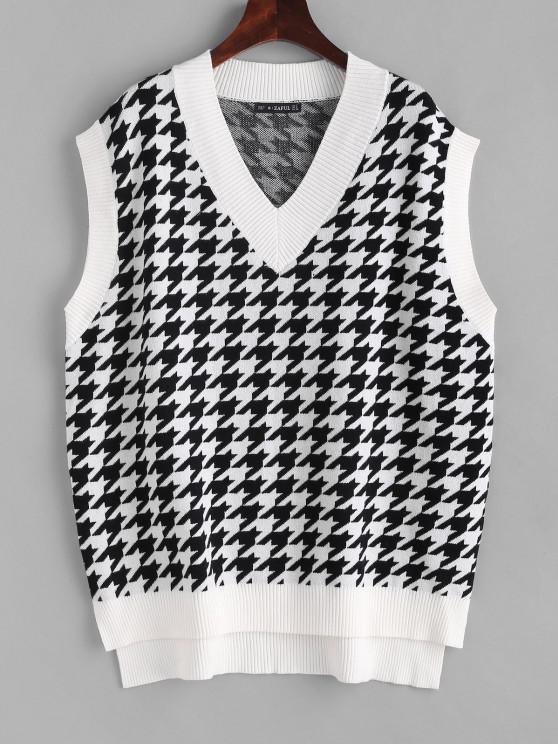 affordable Houndstooth Stepped Hem Sweater Vest - WHITE S