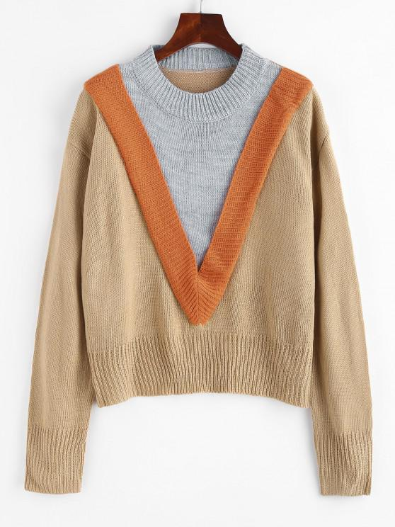 shops Colorblock Chevron Detail Sweater - LIGHT COFFEE L