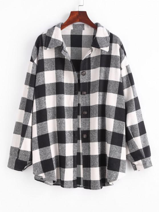 outfits Boyish Checked Wool Blend Coat - BLACK XL