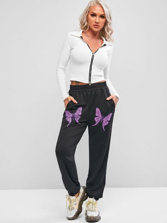 Pockets Butterfly High Waisted Jogger Sweatpants - Black S | ZAFUL