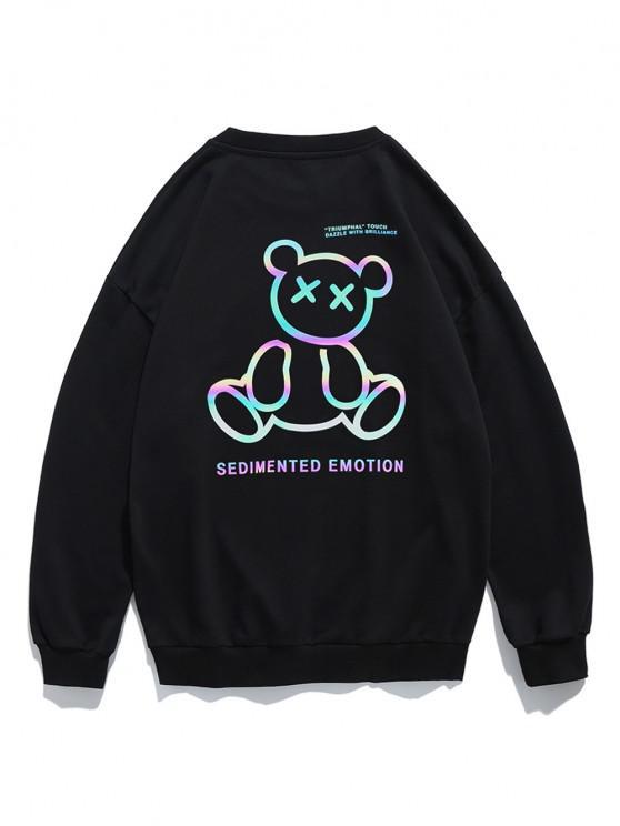 Reflective Bear Graphic Drop Shoulder Lounge Sweatshirt - أسود 2XL