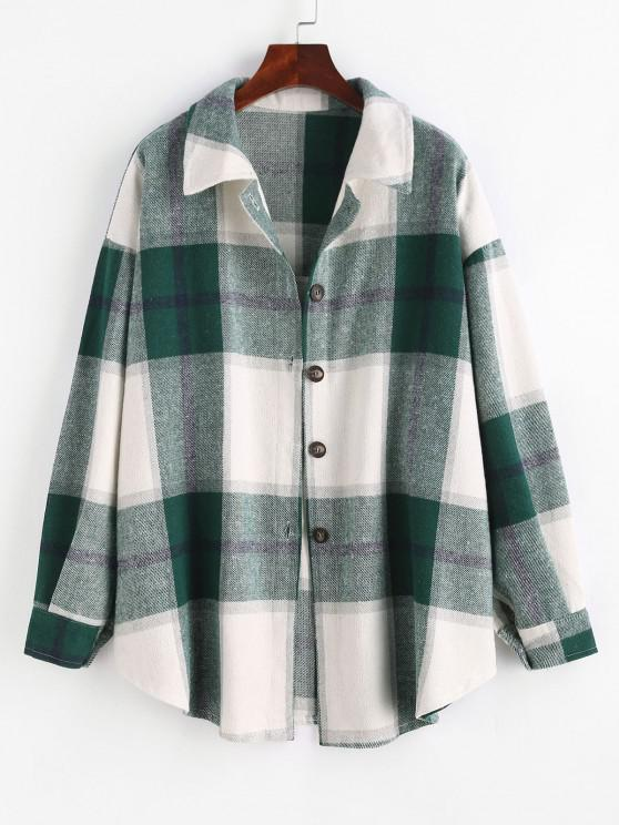 shops Checked Wool Blend Coat - GREEN M