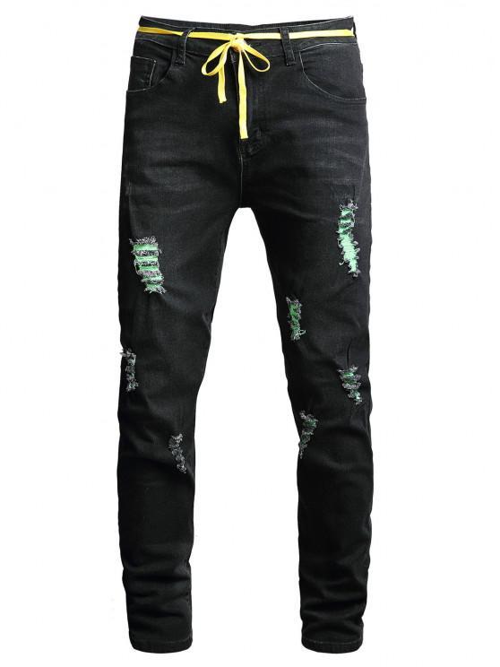 Destrua a Lavagem Jeans Longos e Retos - Preto 36