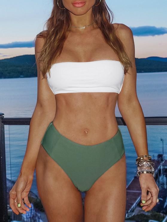 online High Cut Two Tone Bandeau Bikini Set - ARMY GREEN M