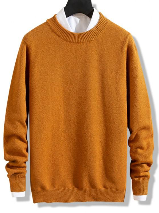 Crew Neck Solid Pullover Knit Sweater - برتقالي قاتم L