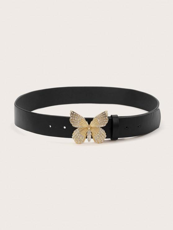 Butterfly Rhinestone Buckle Belt - أسود