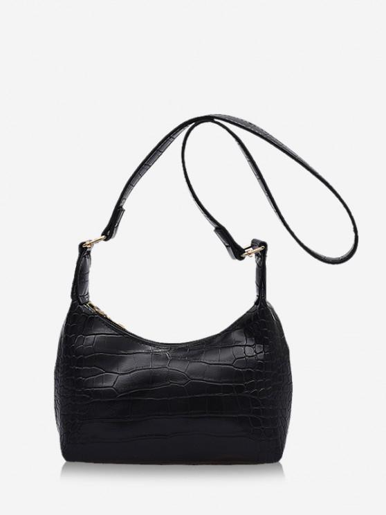 buy Solid Textured Crossbody Shoulder Bag - BLACK