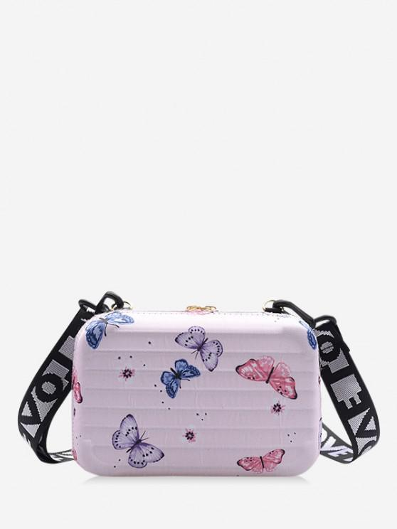 women Butterfly Print Rectangle Crossbody Bag - PIG PINK