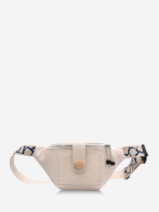 women's Beads Letter Pattern Strap Waist Bag - BEIGE