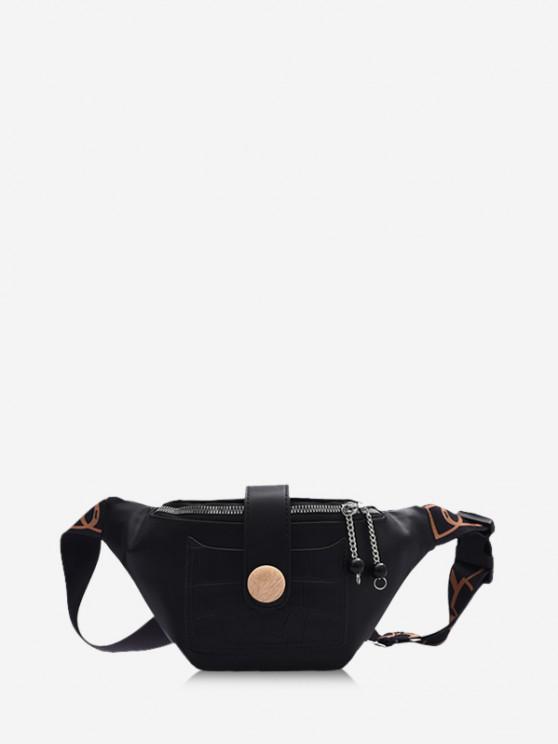 ladies Beads Letter Pattern Strap Waist Bag - BLACK