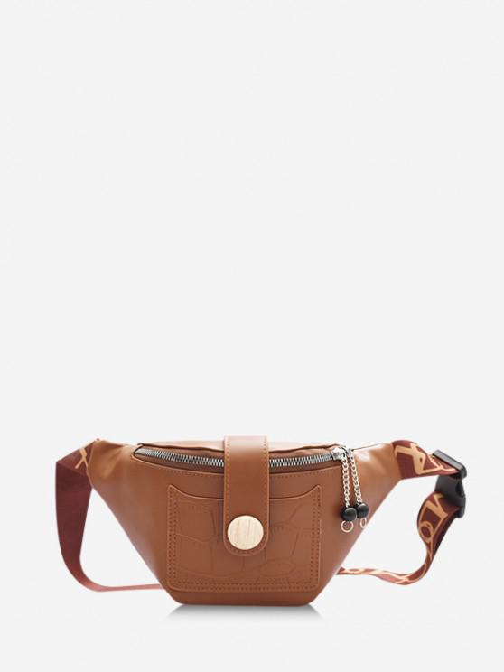 lady Beads Letter Pattern Strap Waist Bag - BROWN