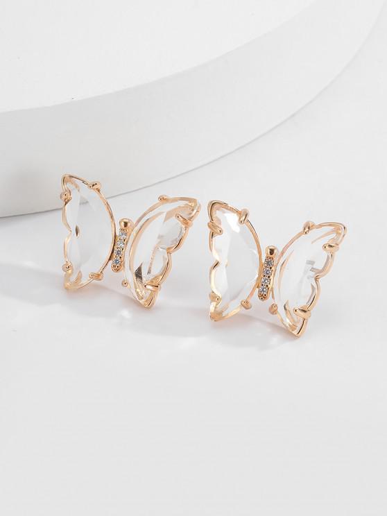 new Butterfly Zircon Copper Stud Earrings - WHITE