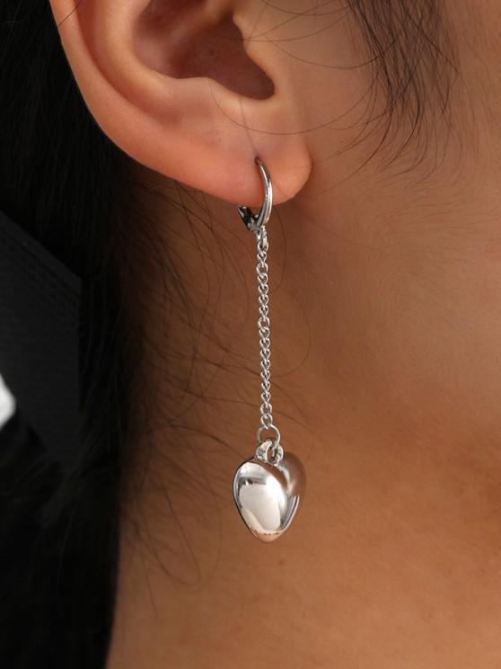 shops Brief Heart Chain Dangle Earrings - SILVER