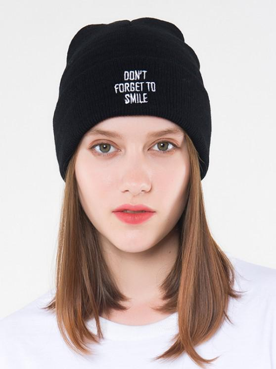 fancy Letters Embroidered Knitted Hat - BLACK