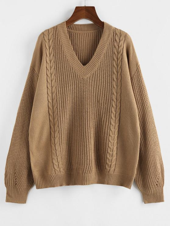 ZAFUL Drop Shoulder V Neck Cable Knit Sweater - قهوة S