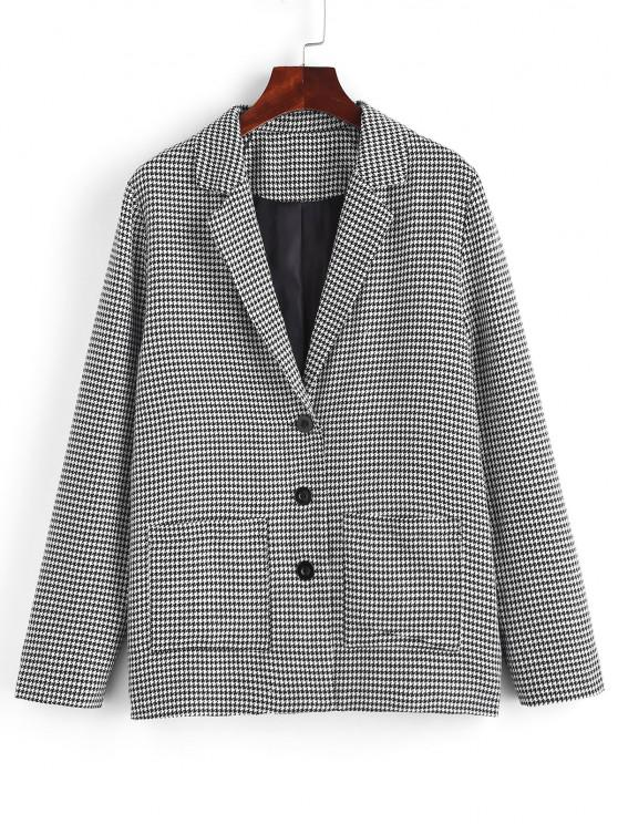 women ZAFUL Houndstooth Lapel Dual Patch Pocket Blazer - BLACK S
