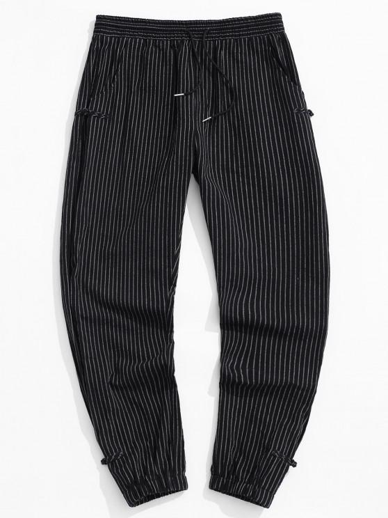 ZAFUL Striped Pattern Frog Button Pants - أسود S